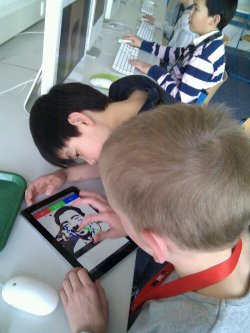 Students try out my new Android app...